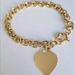 14k Solid  Yellow Gold Love Heart Chain Bracelet